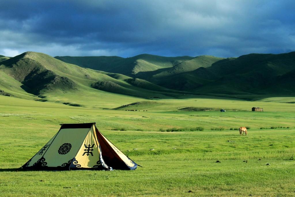 Tienda en un campamento de Mongolia