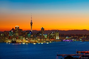 Puesta de sol en Auckland
