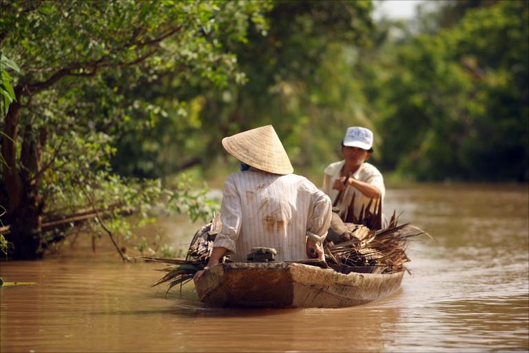 Barco en el delta del Mekong