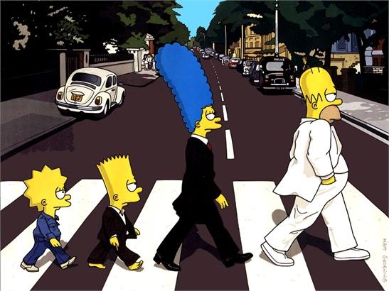 Los Simpson cruzando Abbey Road